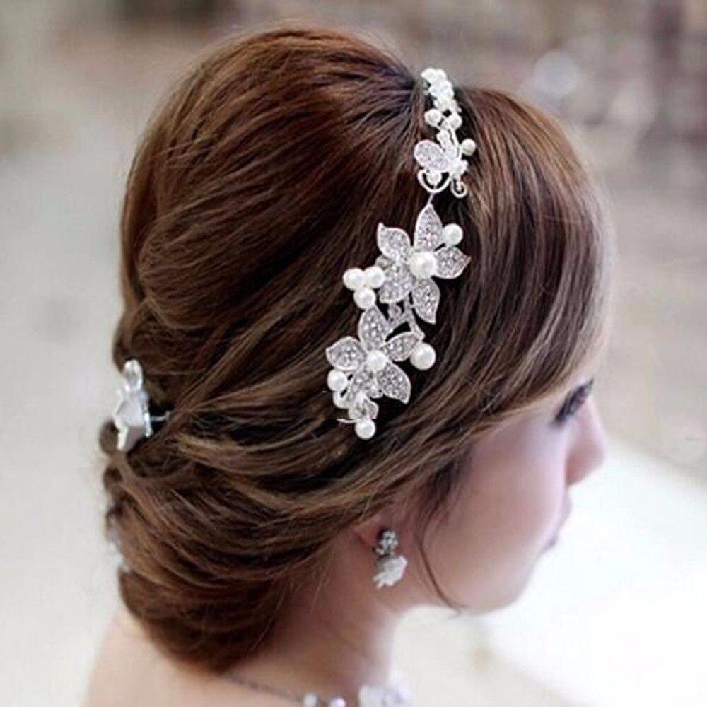 Ha hair accessories for sale - Hot Sell Luxury Silver Rhinestone Pearl Bridal Wedding Flower Headband Wedding Tiara Hair Jewelry Hair Clip