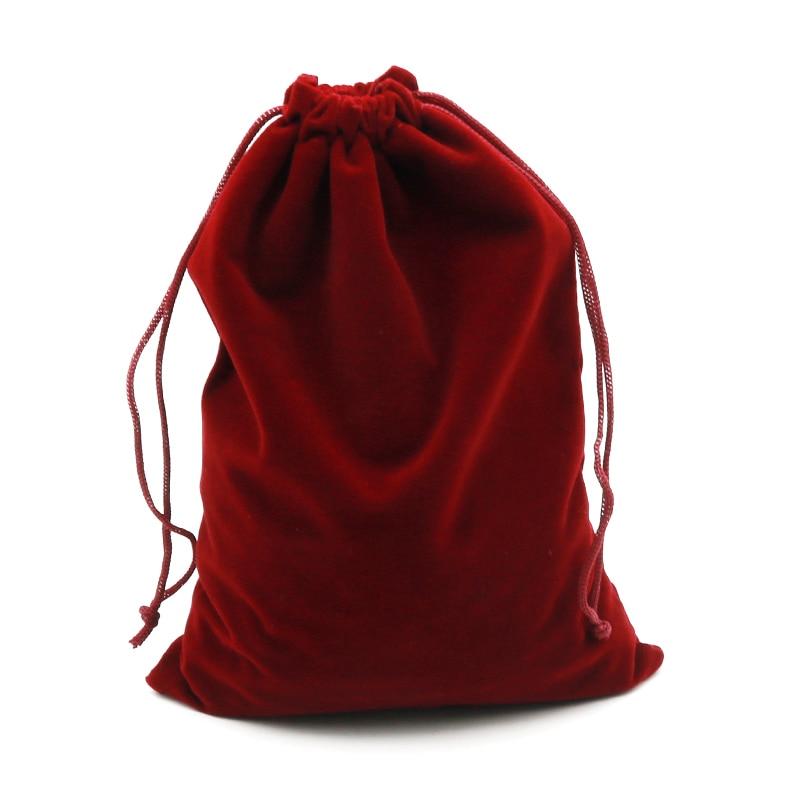 2pcs/lot 15x20cm Dark Red Velvet Bag Big Jewelry Bag Bracelet Candy Jewelry Packaging Bags Wedding Drawstring Pouch Gift Bag