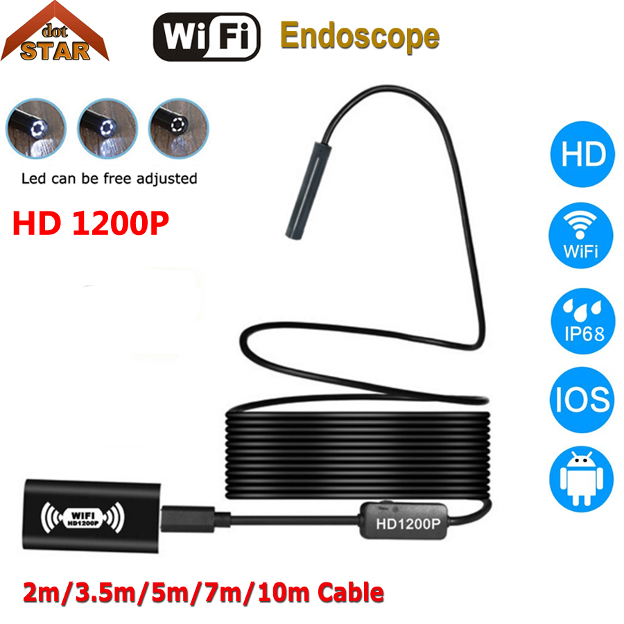 Endoscope Camera HD 1200P IP68 Wifi Endoscope USB 2m 3.5m 5m 7m 10m Cable for iPhone iOS 8mm Lens Waterproof Endoscope Android 3 5m wifi endoscope new camera 8mm hd lens usb iphone android endoscope tablet wireless endoscope wifi softwire
