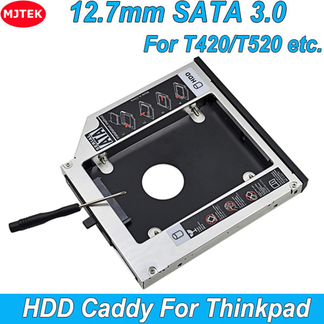 "Aluminum 2nd HDD Caddy 12.7mm 2.5"" SATA 3.0 SSD Case HDD Enclosure for IBM for Lenovo ThinkPad T420 T430 T510 T520 T530 Optibay"