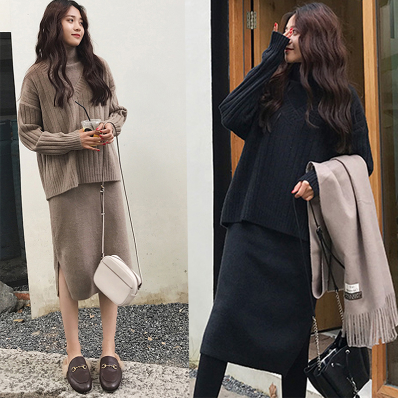 Big-size women's wear and winter foreign gas thin two pieces set fat sister shade sweater knitted shirt Bottom dress