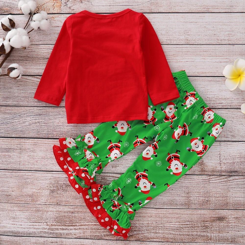 puseky Kids Toddler Boys Christmas Outfits Long Sleeve Letters Shirt Santa Claus Print Pants Set