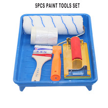 5pcs Paint Tools Roller Painting Brushes Set Craft Paint Foam Rollers 10inch Tray Water Wool Household Use Wall Decorative DIY(China)