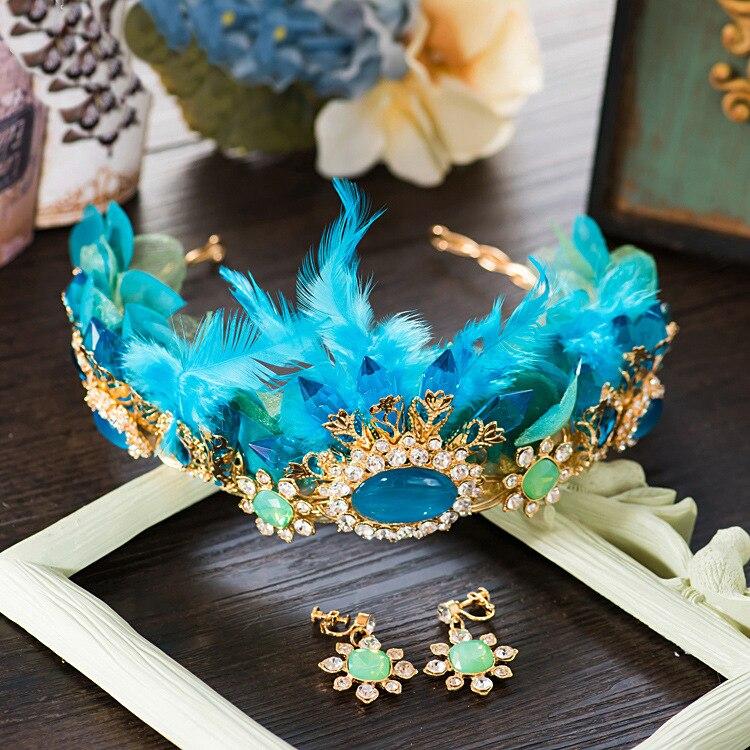 blue rhinestone feather bride Tiara retro crystal wedding crown palace feather crown wearing hair accessories цена 2017