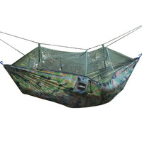 FF Single Person Army Green Hanging Hammocks Indoors Garden Outdoor Mosquito Net Hammock Fabric Camping Travel