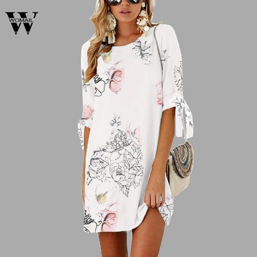 2018 hot sale Women Summer Half Sleeve Bow Bandage Floral Striaght Casual Short Mini Dress drop shipping New fashion Mar 26
