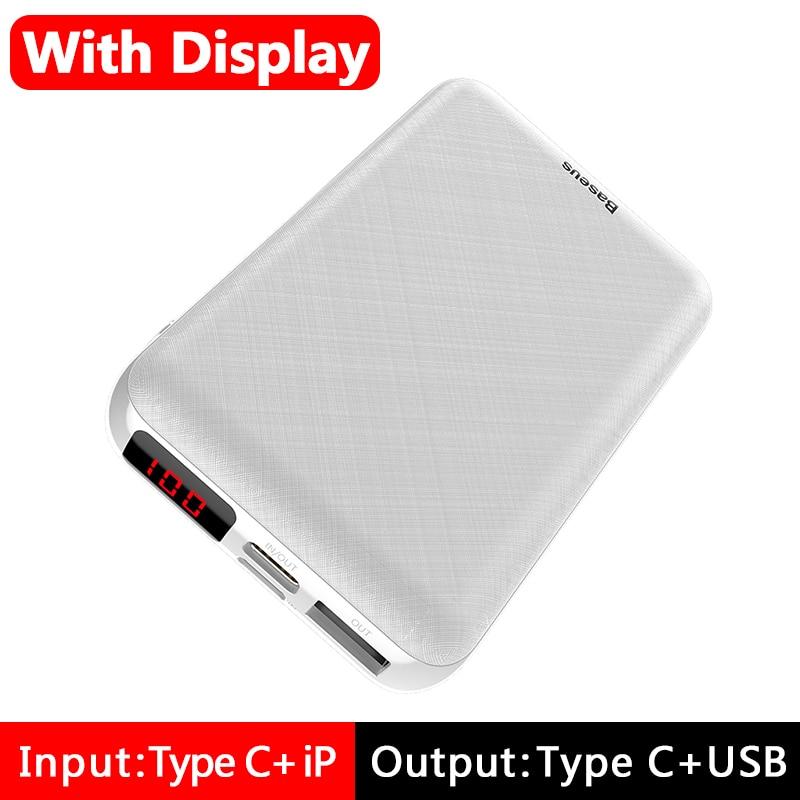 Baseus 10000 мАч mi ni power Bank портативное usb type C быстрое зарядное устройство маленький 10000 мАч power bank для iPhone Xiaomi mi внешний аккумулятор - Цвет: LED Display White