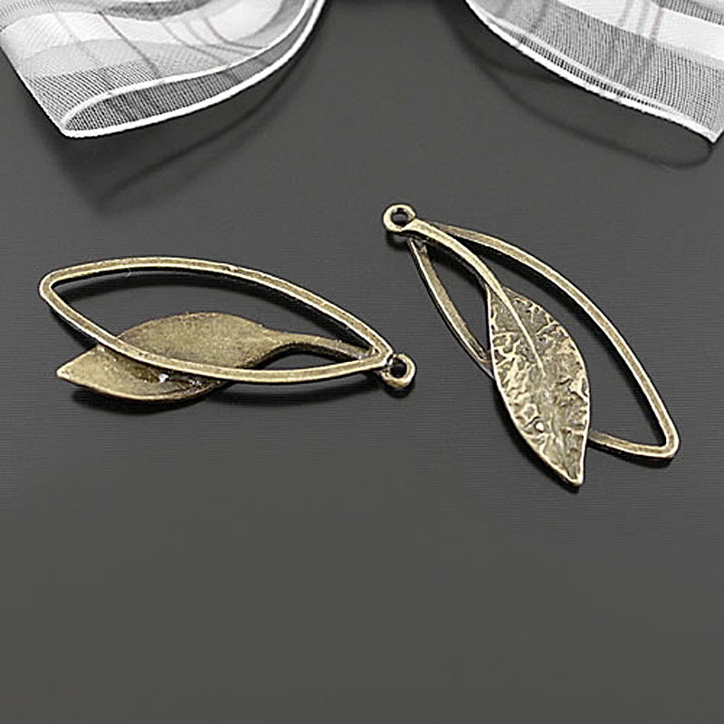 20pcs Vintage Filigree Leaves Leaf Charms Pendants Jewelry Making Gold /& Silver