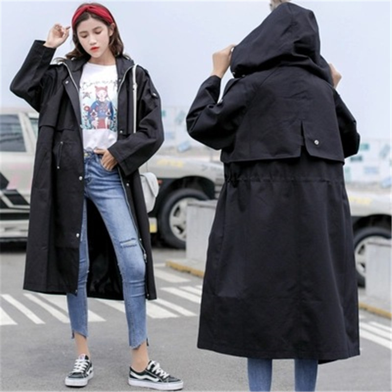 2019 Autumn New Thin   Trench   Coat Solid Color Zipper Hooded Plus Size 3XL Casual Fashion Women's Long Windbreaker Female Outwear
