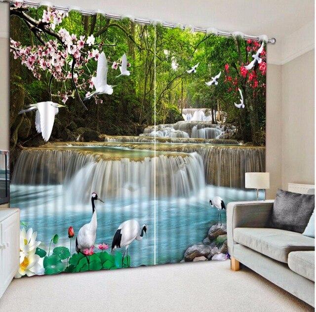 Moderne 3D Malerei Vorhang Wasserfall Waldlandschaft Vorhänge Für Wohnzimmer  Blackout Schlafzimmer Fenster Vorhang Dekoration