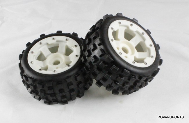 5B baja rear knobby  tires set  with nylon hub 85038-1 billet rear hub carriers for losi 5ive t