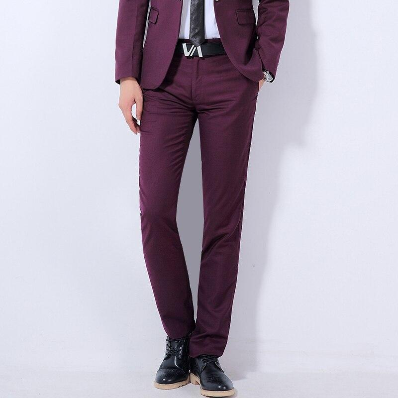 2018 New Mens Boutique Solid Color Fashion Formal Wedding Dress Suit Pants Mens High Quality Slim Business Casual Trousers Men ...
