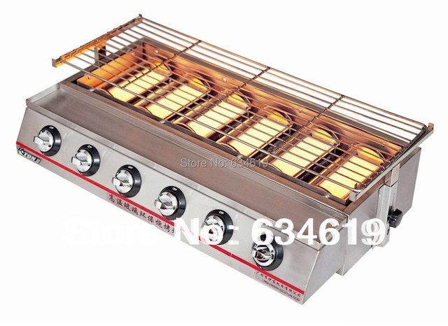 supply stainless steel gas stove six gas burn oven barbecue protection equipment barbecue equipment