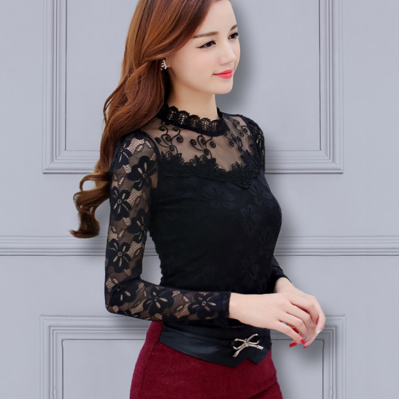 Women\'s Lace Blouse  Women Shirts Elegant Black White Pink Purple Crochet Long Sleeve Blouse Femme Shirt Ladies Tops