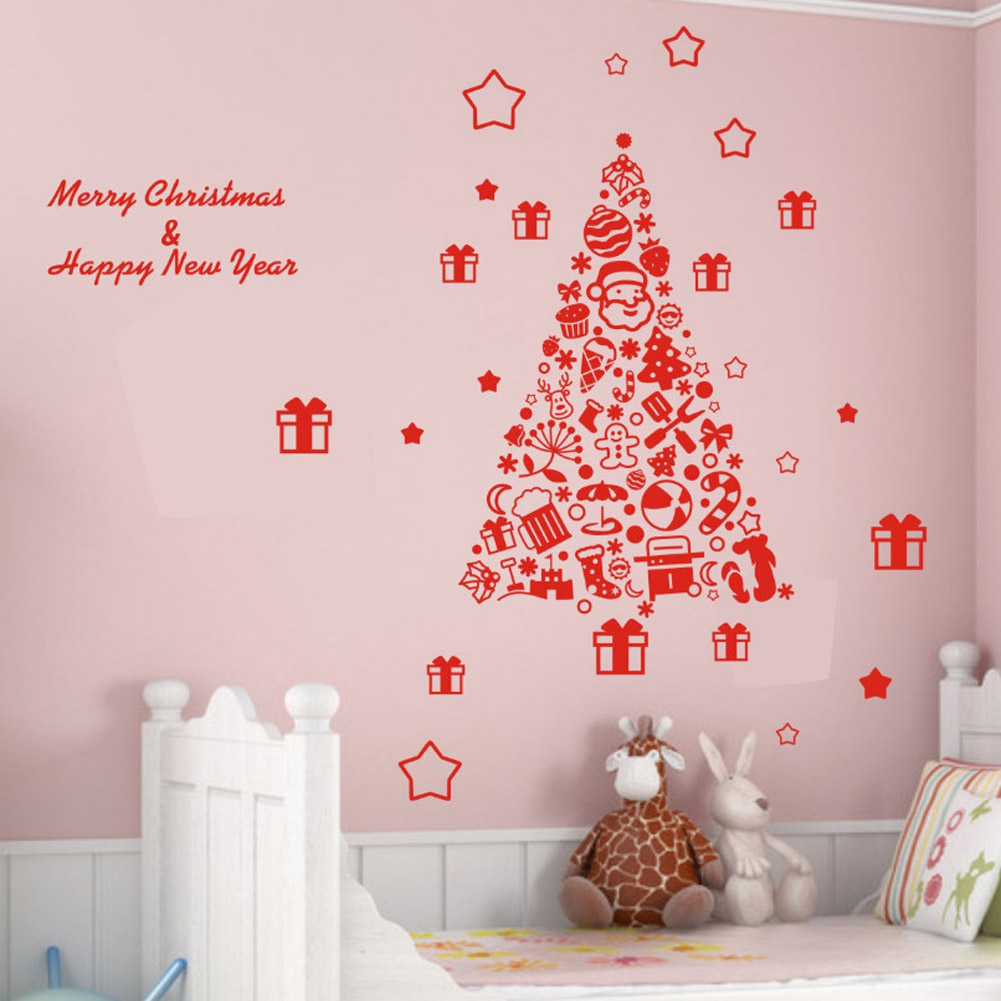 online buy whole christmas posters from 58 67cm christmas tree wall sticker vinyl removable wall stickers home wall decor poster vinilos