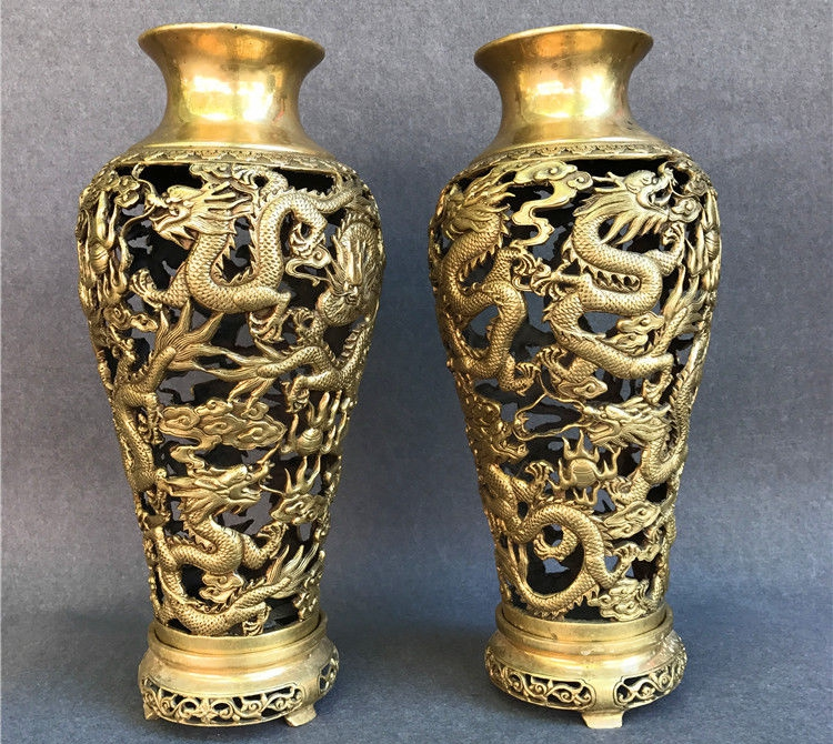 16 Chinese Brass Hollow carving Nine Dragon Dragons Vase bottle Pot Vase Pair16 Chinese Brass Hollow carving Nine Dragon Dragons Vase bottle Pot Vase Pair