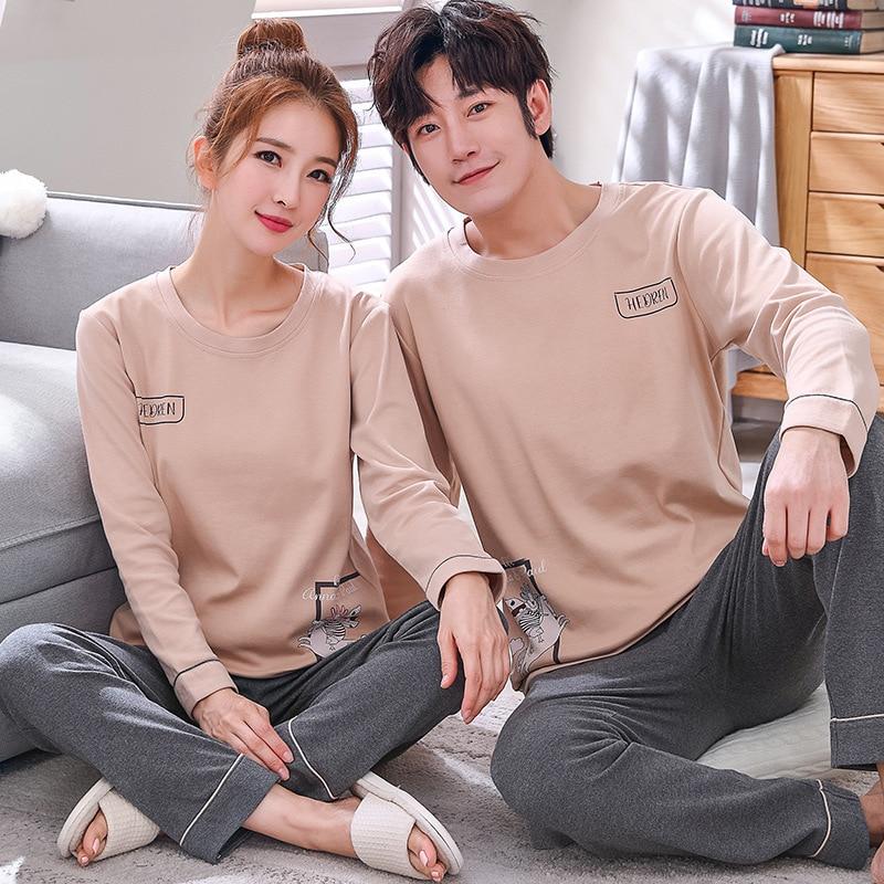 Autumn Men's Cotton Pajamas Letter Striped Couple Sleepwear Cartoon Pajama Sets Casual Lounge Suits Pyjamas Plus Size 3XL Pijama