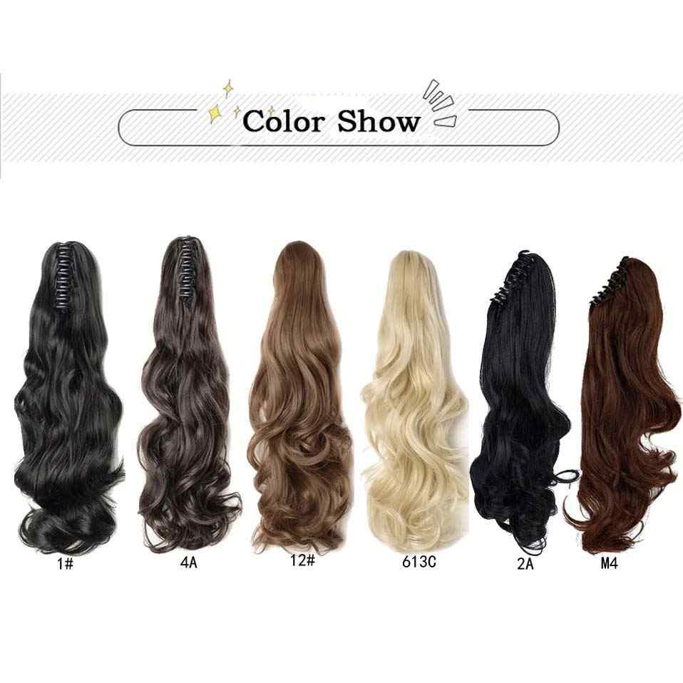 """S-noilite 18 """"Женский хвостик Коготь Поддельные волосы для наращивания длинные вьющиеся волнистые синтетические волосы кусок высокотемпературные волокна волос булочка"""