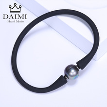 DAIMI Simple Black Silicone Bracelet 11mm Freshwater Pearl Casual Waterproof Bracelets Versatile Accessories