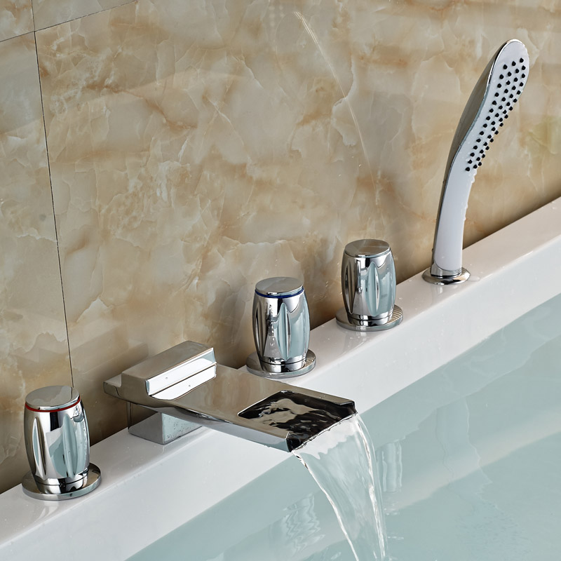 Polished Chrome Brass Waterfall Tub Filler Deck Mount Widespread Bathtub Mixer Tap with Handshower