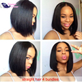 Grade 7a Unprocessed Virgin Brazilian Straight Hair 4 Bundles Brazilian Virgin Straight Short Human Hair Weave For Sale