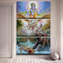 Modern 3 Panels Lord Vishnu Printed Canvas Painiting Living Room Wall Art Pictures Home Poster No Frame(China)