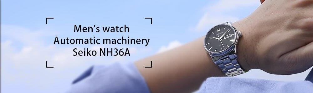 Mens Watches CADISEN 2019 Top Luxury Brand Automatic Mechanical Watch Men Full Steel Business Waterproof Fashion Sport Watches