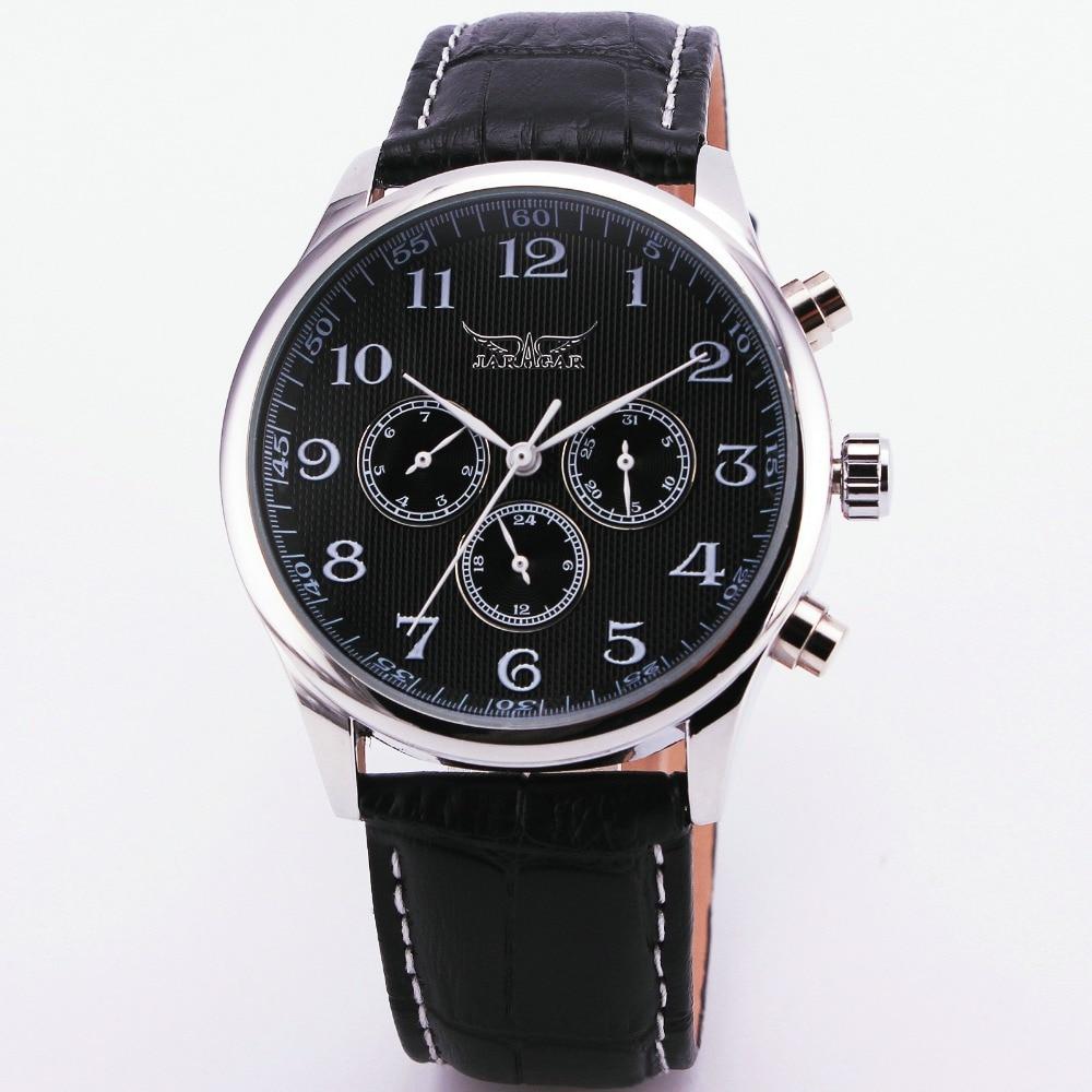 2017 Fashion WINNER Men Automatic Mechanical Watch Working Sub-dials Leather Watchband Male Wristwatch Arabic Numerals Gift +BOX