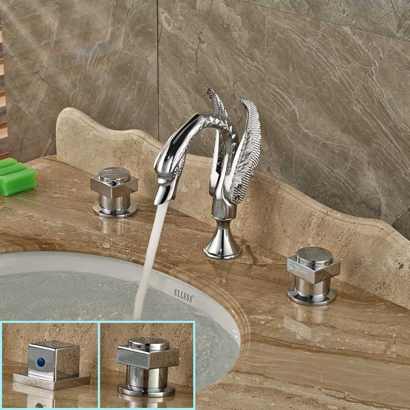 Modern Square Brass Handles Bathroom Faucet Dual Knobe Chrome Bathroom Swan Mixer Taps