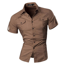 2017 Summer time Options Shirts Males Informal Denims Strong colour Shirt New quick Sleeve Informal Slim Match Male Shirts 8360