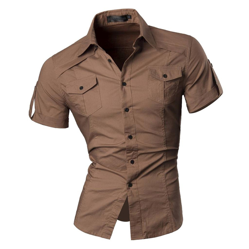 2018 Summer Features Shirts Men Casual Jeans Solid color Shirt New short Sleeve Casual Slim Fit Male Shirts 8360