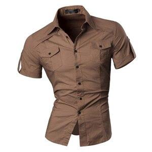 Image 2 - قميص جينز رجالي صيفي قصير الأكمام فستان كاجوال موضة أنيقة 8360