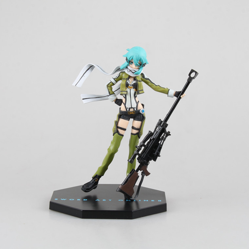 Anime Sword Art Online 2 Asada Shino Toys Japan 18CM Movable Sniper Pvc Action Figure Collectible Model Kids Birthday Gift Toys