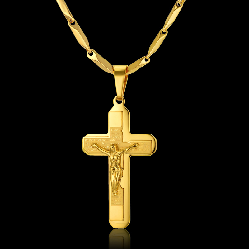 Gold Color Chain Male Necklace Religious Jewelry Birthday Gifts Wholesale Crucifix & Jesus Crosses Necklace Pendant For Men