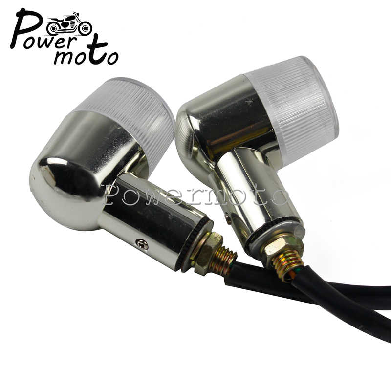 12V moto Chrome clignotants indicateur lumineux 10mm montage boulon filetage lampe de direction pour Honda Suzuki Yamaha Kawasaki