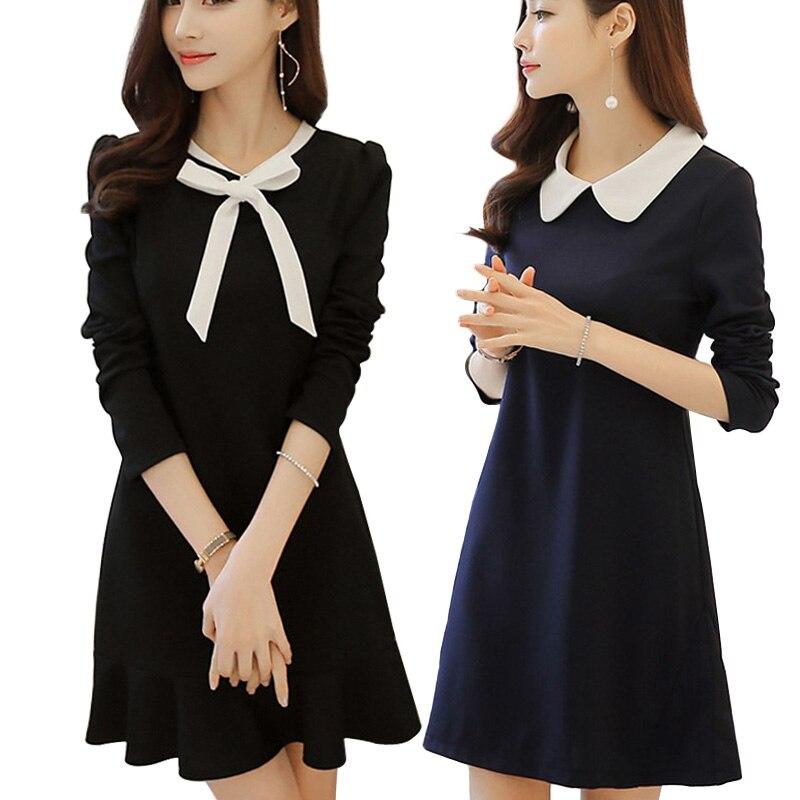2018 School dresses fashion women office black dress with white collar Casual Slim vintage vestidos Summer Style