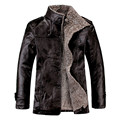 Men Leather jacket 2015 New Fashion Leisure Autumn Winter PU In the Long Section Stand Collar Coat Black  Brown Leather Jacket