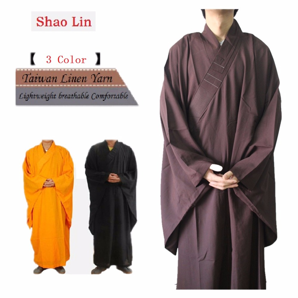 Shanghai Story Unisex High Quality Shaolin Temple Zen Buddhist Robe Lay Monk Meditation Gown Kung Fu Training Uniform Suit