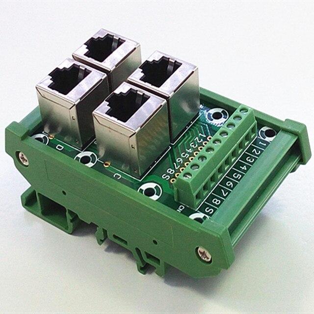 din rail mount rj45 module rj45 8p8c jack 4 way buss breakout board rh aliexpress com RJ45 Wiring Guide RJ45 Wiring Color Code
