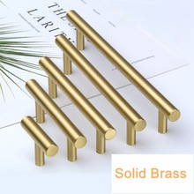 Tbar Brass Kitchen Cabinet Handles Gold Drawer Bathroom Cupboard Furniture Pulls and Knobs 128mm 160mm 320mm-4Pack