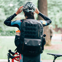 Waterproof Cycling Backpack comes with Red LED Beacon Lights 3M Safe Reflective Adjustable Padded Hip Belt Dry Bag Hiking Biking