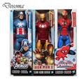 The Avengers Hero Series Action Figures Toys 30cm PVC Hot Toys Captain America Bathero  Iron Hero Spiderhero Figure Model Gifts