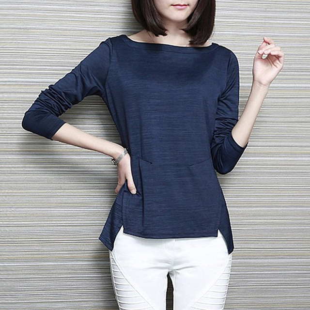 2018 Spring and autumn women slit neckline long-sleeve T-shirt female slim basic shirt solid color brief top plus size clothing