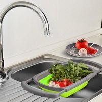 3.8L Prático Cozinha Doces Dobrável Em Cima da Pia Coador Com Alça de Silicone Acessórios de Cozinha