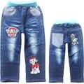 Патч зимние джинсы мальчик джинсы двухэтажные джинсовые и флис ТЕМНО-СИНИЙ ПОВСЕДНЕВНЫЕ брюки брюки для мальчиков ребенок теплый новый 2016