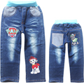Patch de inverno calças de brim calças de brim menino double-deck de denim e velo AZUL MARINHO calça CASUAL calças meninos criança quente novo 2016