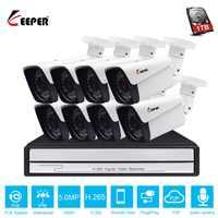 Keeper HD 8CH 5MP POE security camera System Kit H.265 POE IP Audio Camera Outdoor Waterproof cctv Video Surveillance NVR set