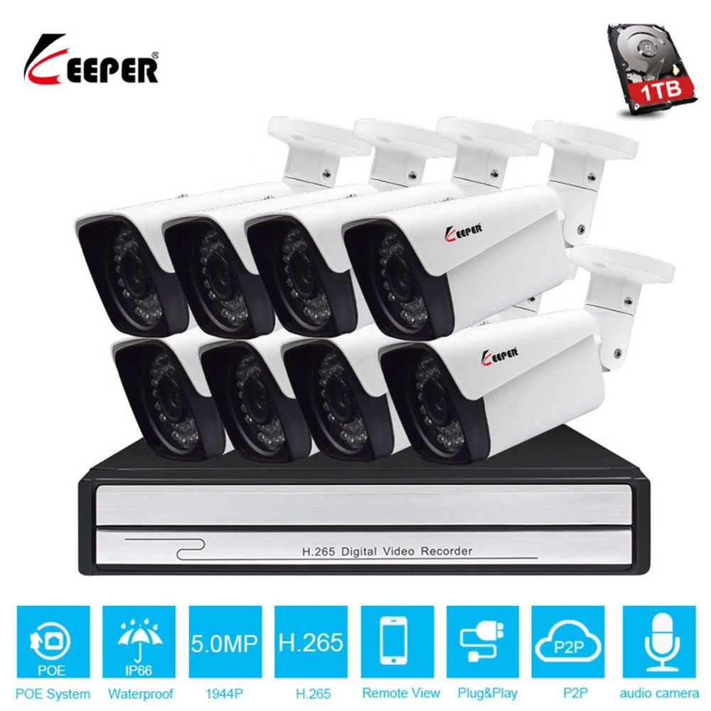 Keeper HD 8CH 5MP POE security camera System Kit H.265 POE IP Audio Camera Outdoor Waterproof cctv Video Surveillance NVR set
