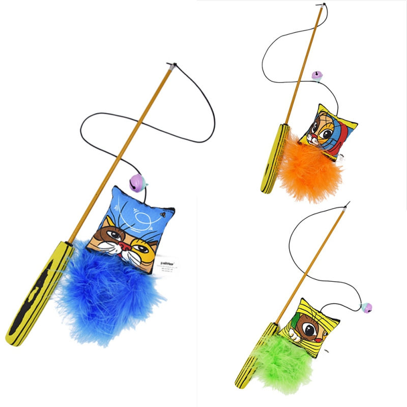 False Parrot Cat Toys Colorful Feather Catcher Teaser Toys for Cat Kitten Cat Catching Training Funny Pet Cats Products