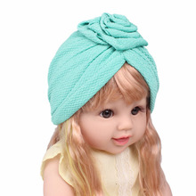 цены на 2019 New Girls Hair Accessories Cute Baby Kids Hats Cotton Soft Turban Rose Hat Caps For Toddler Kids Newborn Children Caps  в интернет-магазинах